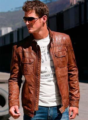 Модная мужская кожаная осенняя куртка 2014 фото