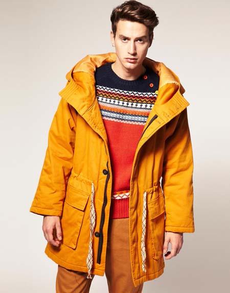 Мужская желтая куртка-парка 2015
