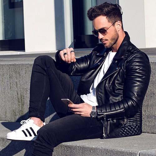 Модная мужская куртка из экокожи
