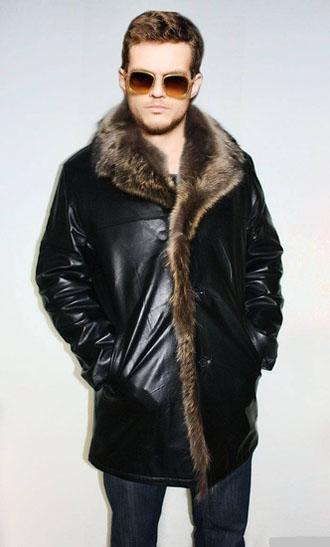 Мужская куртка из экокожи  с мехом фото