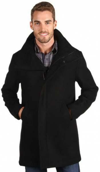 Черное мужское шерстяное пальто 2017 фото