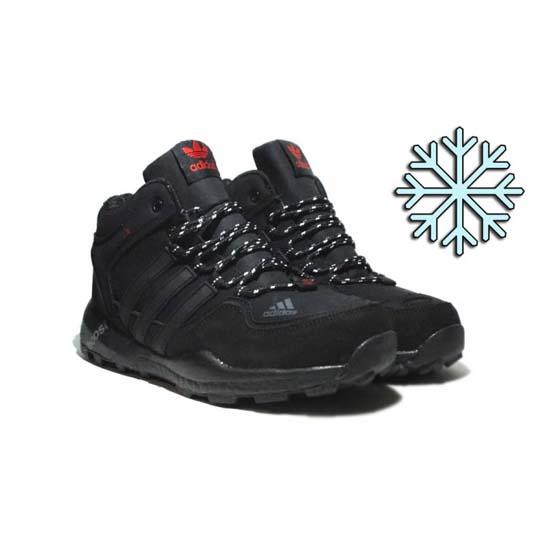 Черные мужские зимние кроссовки Adidas 2017 фото
