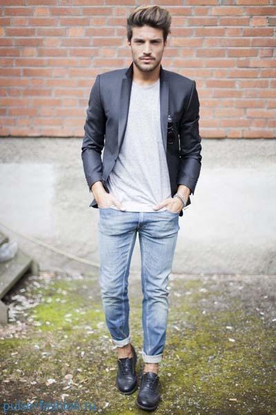 Модные подвернутые мужские джинсы 2017 фото