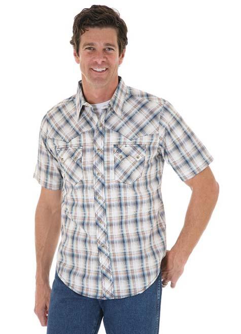Бело-голубая рубашка в клетку с коротким рукавом 2017 фото