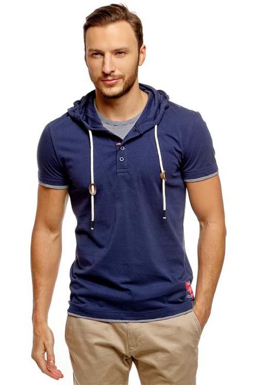 синяя мужская футболка с капюшоном 2017 фото