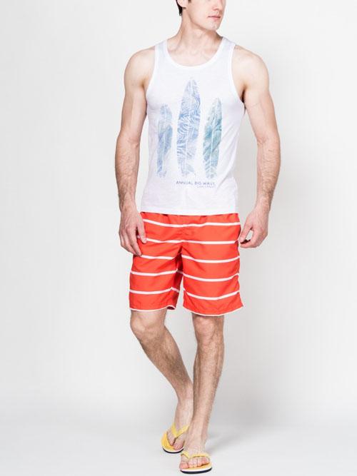 Ярко оранжевые мужские летние шорты 2017 в полоску