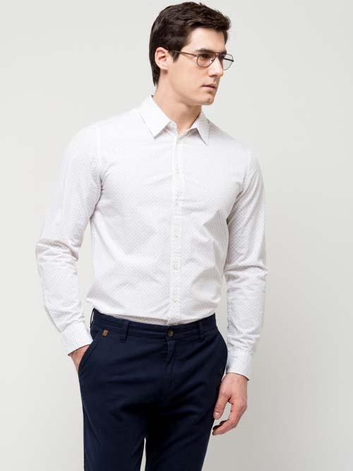 Классическая белая мужская рубашка с длинным рукавом 2017