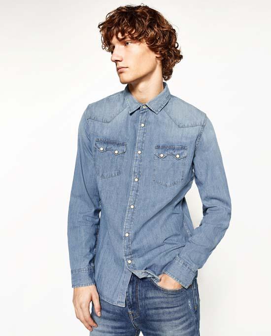 модная джинсовая мужская рубашка 2017 фото