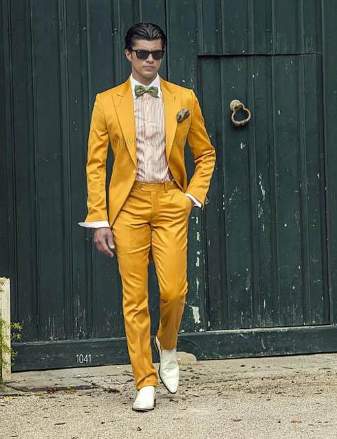 костюм жениха 2017 желтый для свадьбы