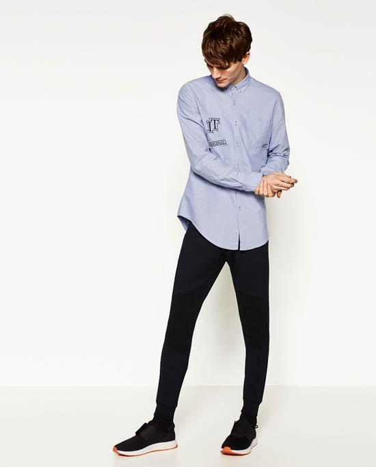 голубая приталенная мужская рубашка 2017 фото