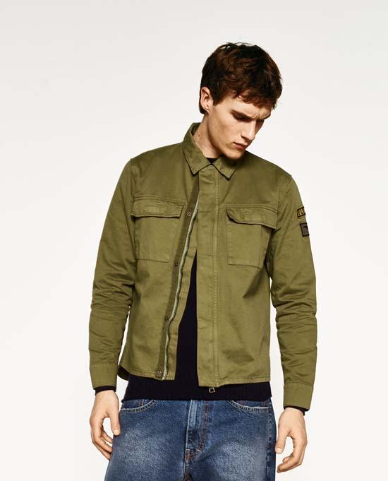 Мужская рубашка 2017 милитари Zara