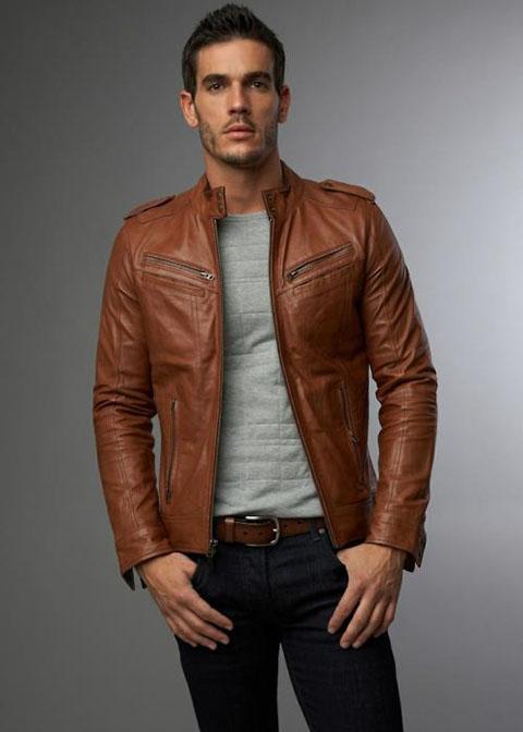 мужская коричневая кожаная куртка 2017 фото