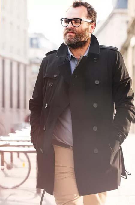 черное пальто для полного мужчины фото