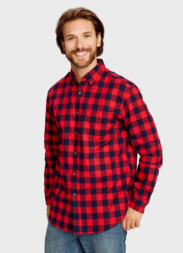 модная красная рубашка в клетку фото