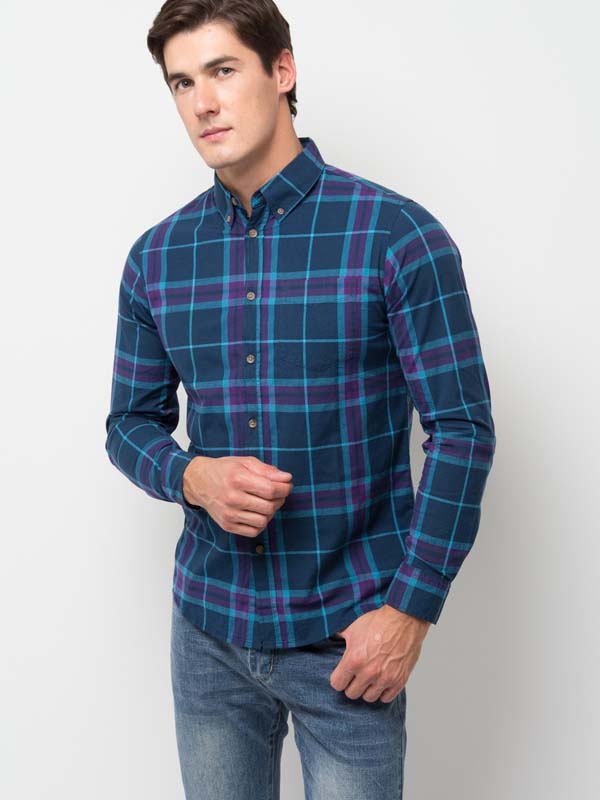 мужская синяя рубашка в клетку фото