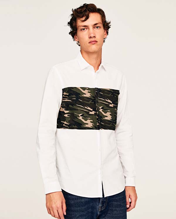 модная белая рубашка милитари фото