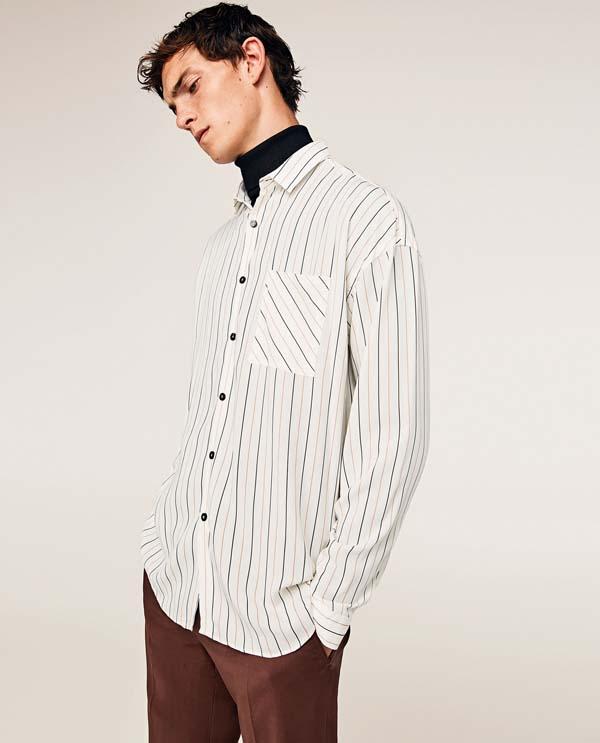 стильная мужская белая рубашка в полоску фото