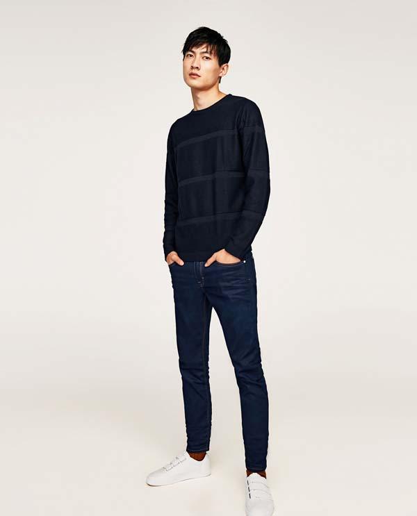 темно-синие зауженные джинсы 2018 фото