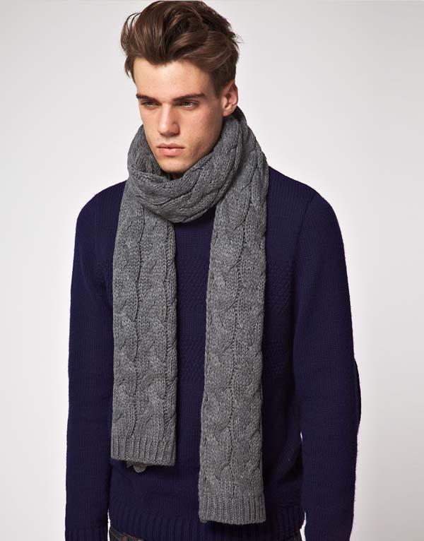 мужской серый зимний шарф фото