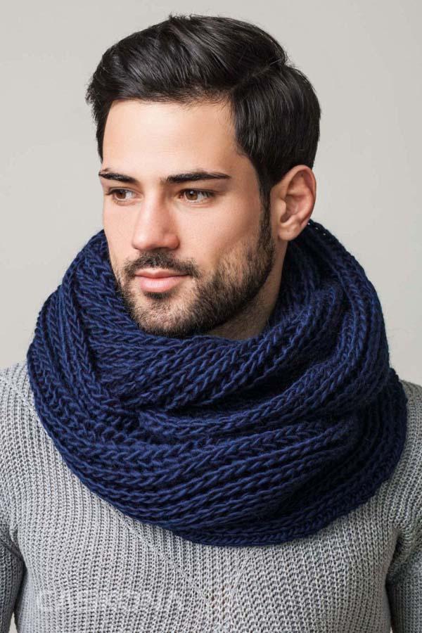 синий мужской шарф снуд фото