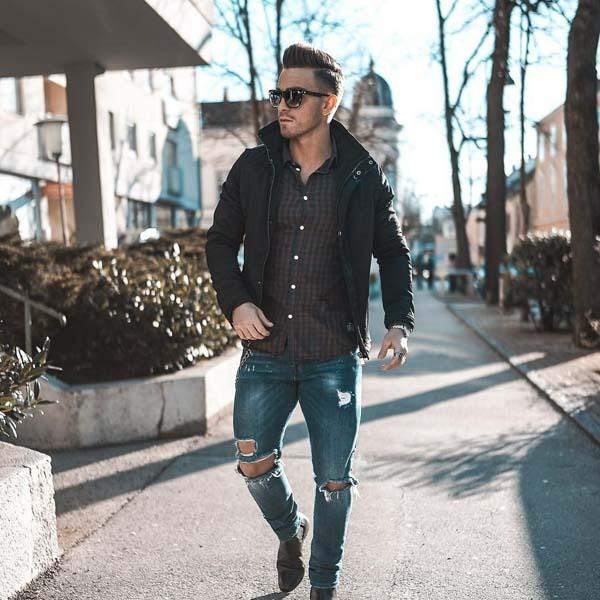 мужские гранжевые джинсы