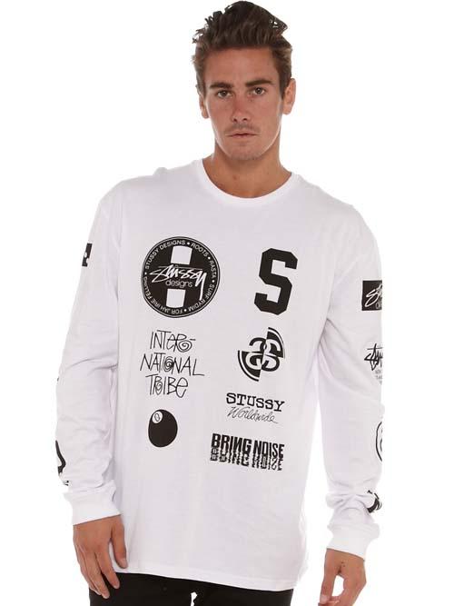белая футболка Stussy логотип