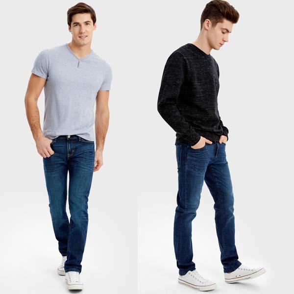 мужские классические синие джинсы