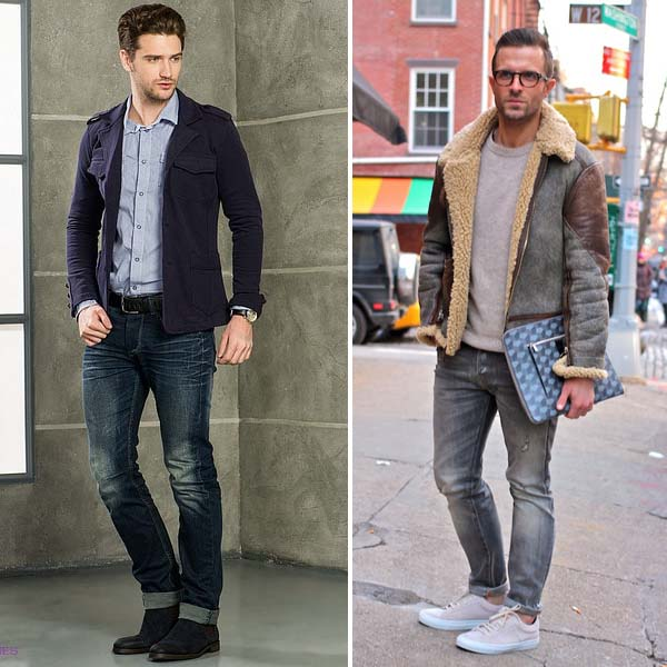 серые и синие мужские джинсы