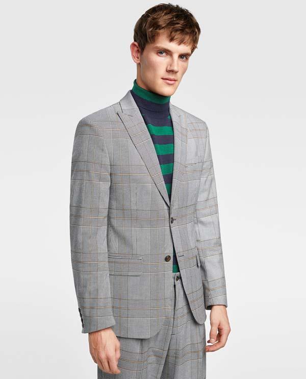 мужской серый пиджак в клетку 2018