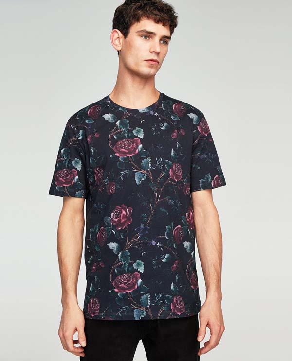 мужская футболка 2018 цветочный принт