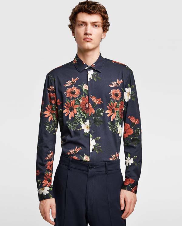 синяя мужская рубашка 2018