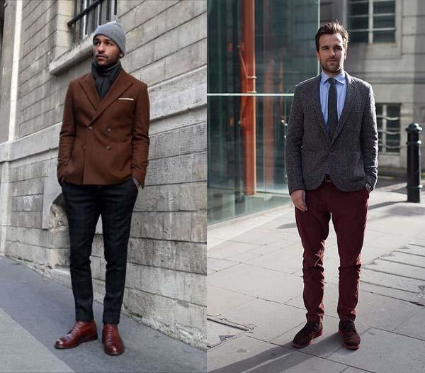 мужчина бордовые ботинки