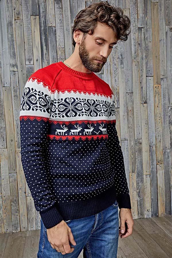 модный свитер с оленями мужской фото